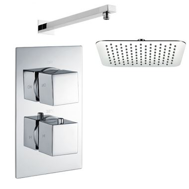 Drench Matthew Concealed Shower Valve & 400mm Head - 345mm Wall Arm